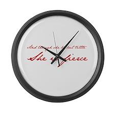 she-is-fierce-JAN-RED Large Wall Clock