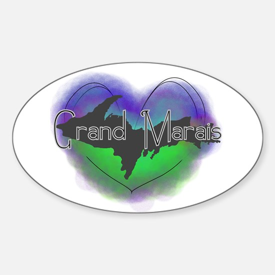 Aurora Grand Marais Sticker (Oval)