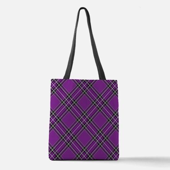 Purple Plaid Pattern Polyester Tote Bag