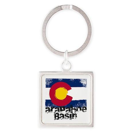 Arapahoe Basin Grunge Flag Square Keychain