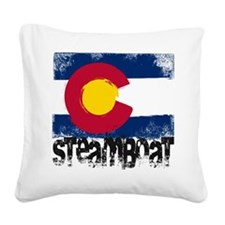 Arapahoe Basin Grunge Flag Square Canvas Pillow