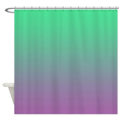aqua green and violet shower curtain by