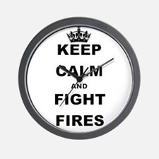KEEP CALM AND FIGHT FIRES Wall Clock