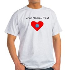 Custom Light Blue Owl Heart T-Shirt