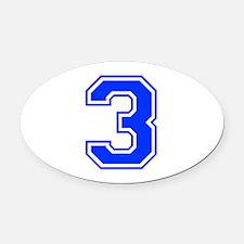3-var-blue Oval Car Magnet