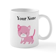 Personalized Pink Cat Mugs