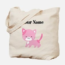 Personalized Pink Cat Tote Bag