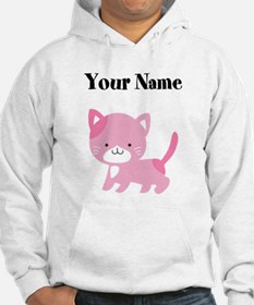 Personalized Pink Cat Hoodie Sweatshirt