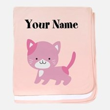 Personalized Pink Cat baby blanket