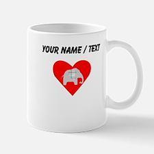 Custom Grey Plaid Elephant Heart Mugs