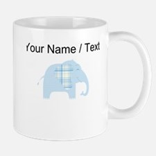 Custom Blue Plaid Elephant Mugs