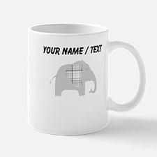 Custom Grey Plaid Elephant Mugs