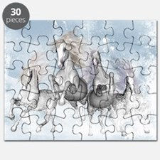Wonderful wild horses running in the snow Puzzle