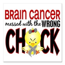 Brain Cancer Messed With Wrong Chick Square Car Ma