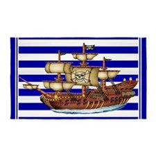 Pirate Ship with Stripes 3'x5' Area Rug