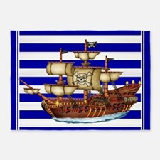 Pirate Ship with Stripes 5'x7'Area Rug