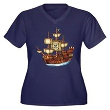 Pirate Ship with Stripes Women's Plus Size V-Neck