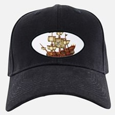 Pirate Ship with Stripes Baseball Hat