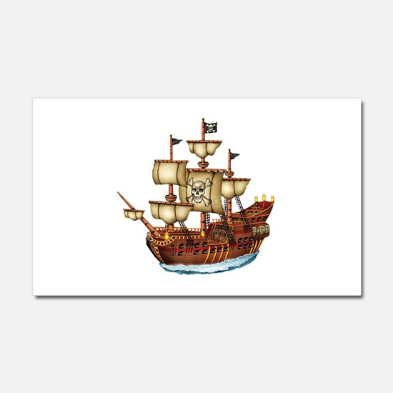Pirate Ship with Stripes Car Magnet 20 x 12