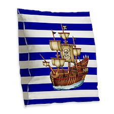 Pirate Ship with Stripes Burlap Throw Pillow