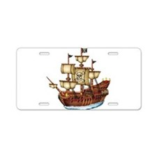 Pirate Ship with Stripes Aluminum License Plate