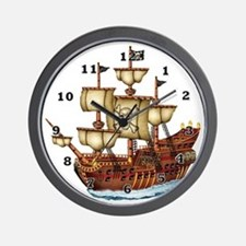 Pirate Ship with Stripes Wall Clock