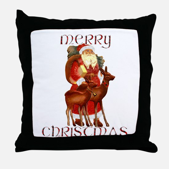 Santa and Reindeer design Throw Pillow
