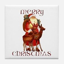 Santa and Reindeer design Tile Coaster