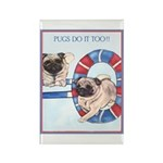 Agility Chinese Pugs Rectangle Magnet