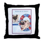 Agility Chinese Pugs Throw Pillow