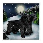 SCHNAUZER DOGS SNOW MOUNTAIN Tile Coaster