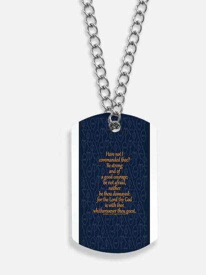 Joshua 1:9 Tapestry blue Dog Tags