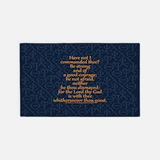 Joshua 1:9 Tapestry blue 3'x5' Area Rug
