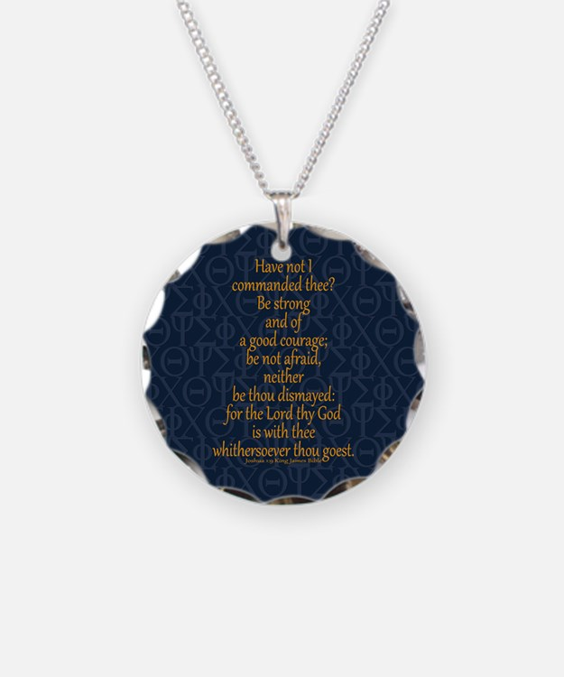 Joshua 1:9 Tapestry blue Necklace