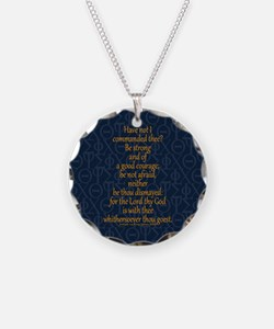 Joshua 1:9 Tapestry blue Necklace Circle Charm