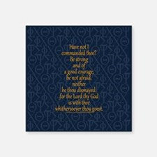 "Joshua 1:9 Tapestry blue Square Sticker 3"" x 3"""