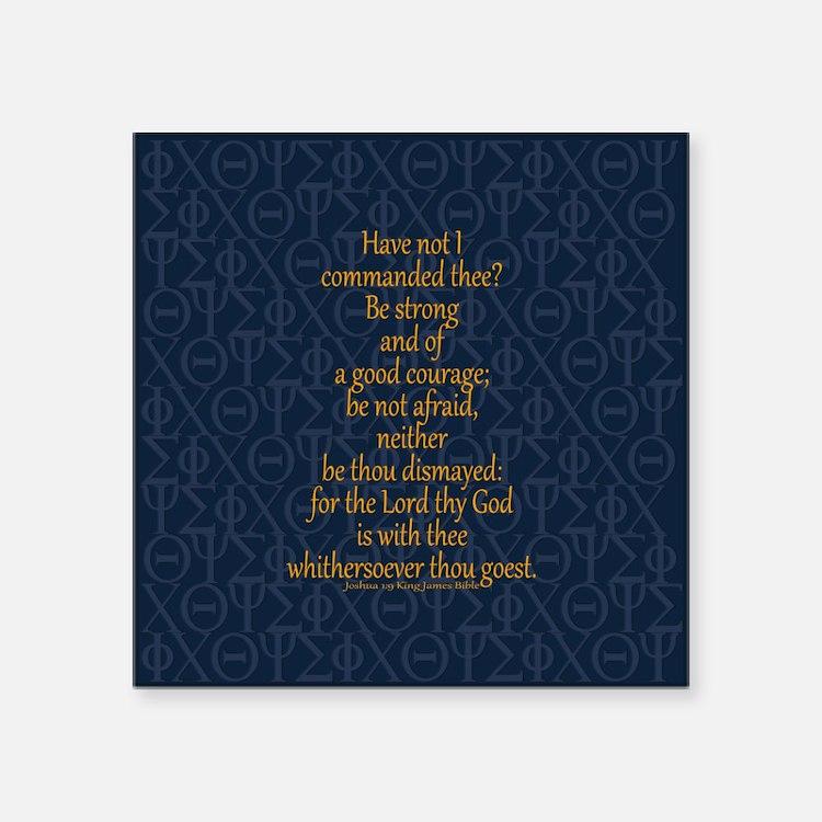 "Joshua 1:9 Tapestry blue Square Sticker 3"" x 3"""