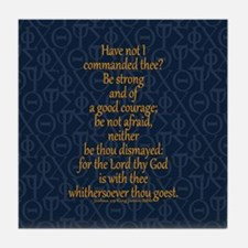 Joshua 1:9 Tapestry blue Tile Coaster