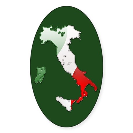 """Italy Bubble Map"" Oval Sticker"