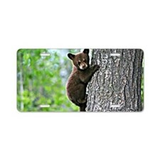 Bear Cub Climbing a Tree Aluminum License Plate
