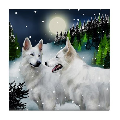 German Shepherd Dog Snow Mountain Tile Coaster