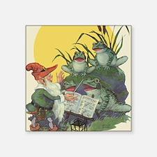 "Vintage Frog Choir Singing Square Sticker 3"" x 3"""