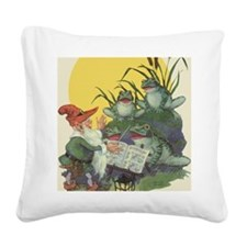 Vintage Frog Choir Singing Square Canvas Pillow