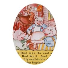 Vintage Three Little Pigs Oval Ornament