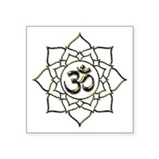 "Lotus Om Aum Square Sticker 3"" x 3"""