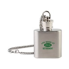 Life begins at 2014 Retirement Flask Necklace