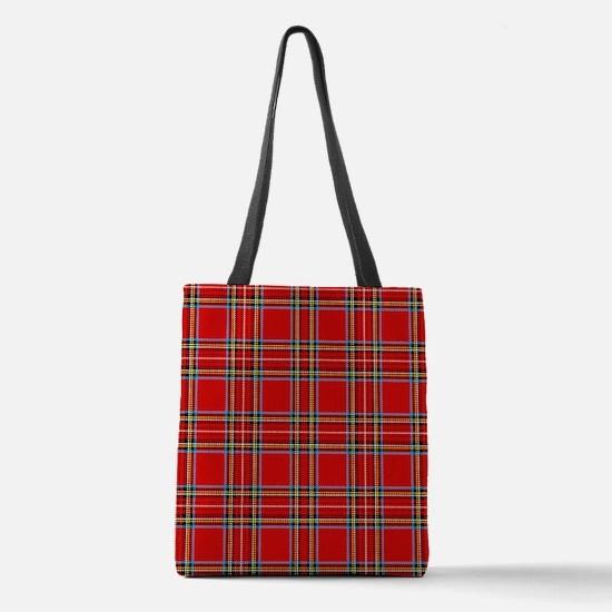 Red Tartan Plaid Polyester Tote Bag