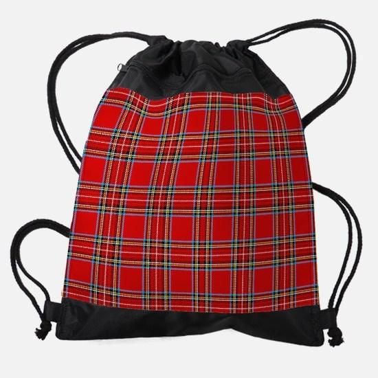 Red Tartan Plaid Drawstring Bag