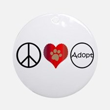 Peace Love Adopt Ornament (Round)