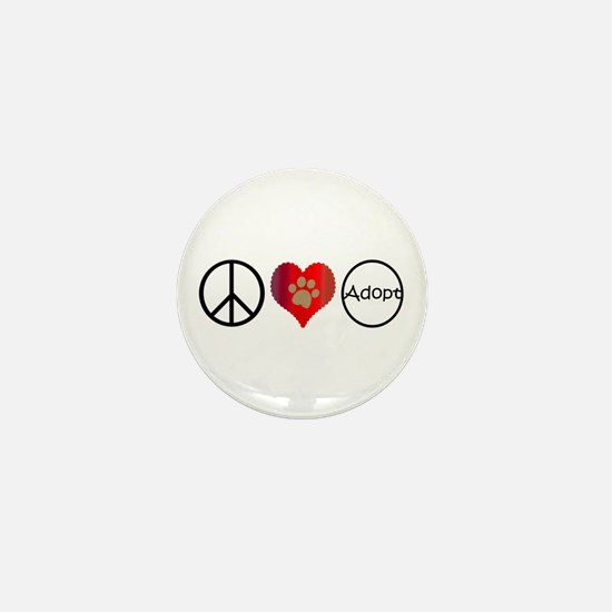 Peace Love Adopt Mini Button (100 pack)